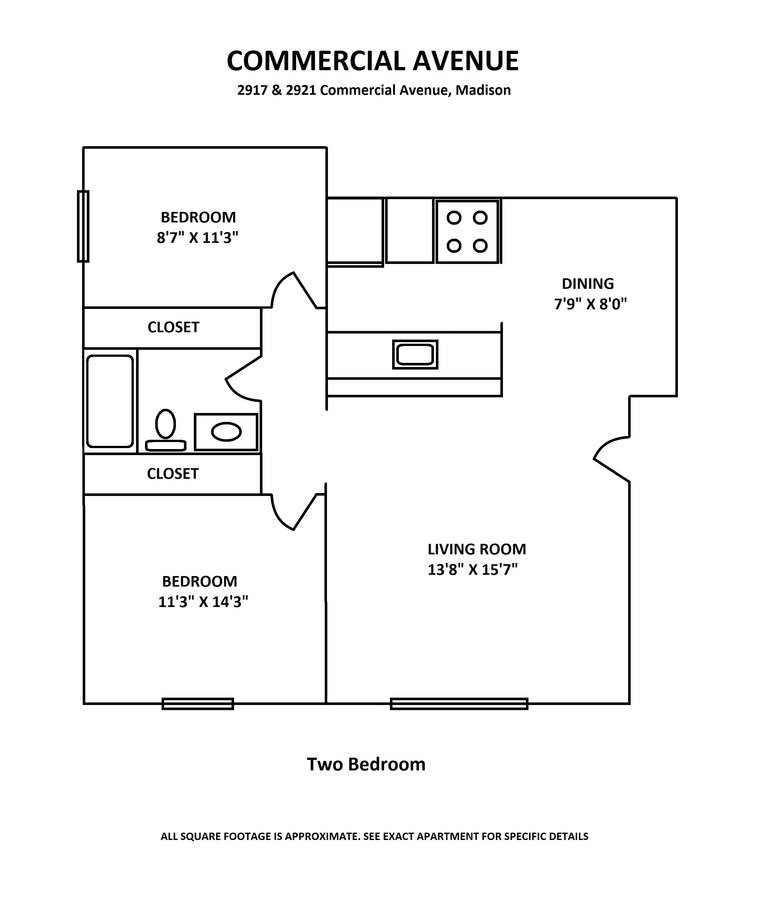 2 Bedrooms 1 Bathroom Apartment for rent at Commercial Avenue in Madison, WI
