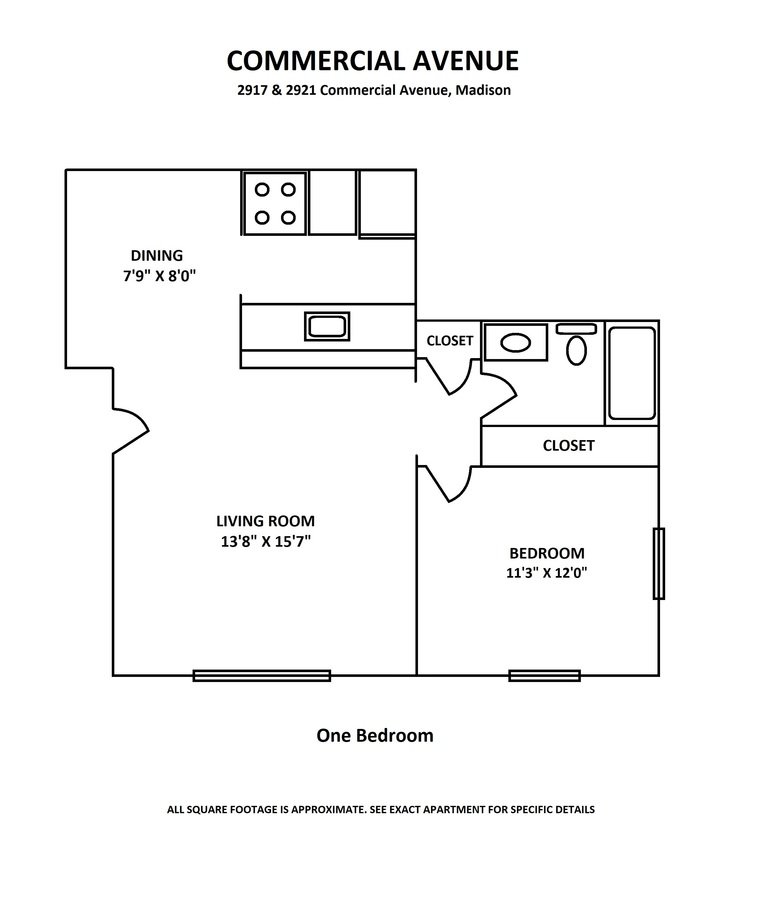 1 Bedroom 1 Bathroom Apartment for rent at Commercial Avenue in Madison, WI
