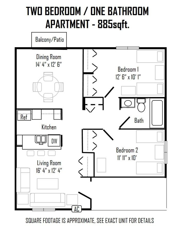 2 Bedrooms 1 Bathroom Apartment for rent at Brooks Towne in Madison, WI