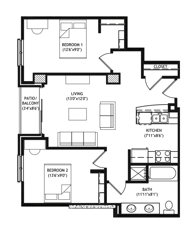 2 Bedrooms 1 Bathroom Apartment for rent at X01 Apartments in Madison, WI