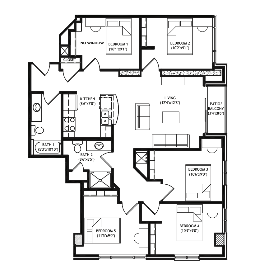 5 Bedrooms 2 Bathrooms Apartment for rent at X01 Apartments in Madison, WI