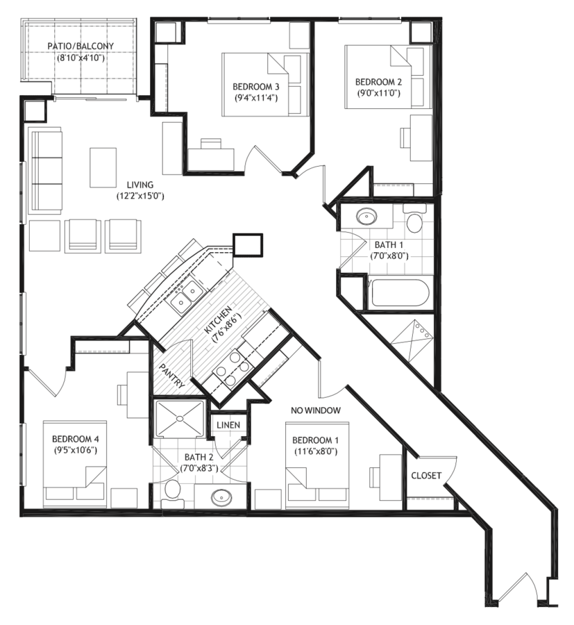 4 Bedrooms 2 Bathrooms Apartment for rent at Grand Central in Madison, WI