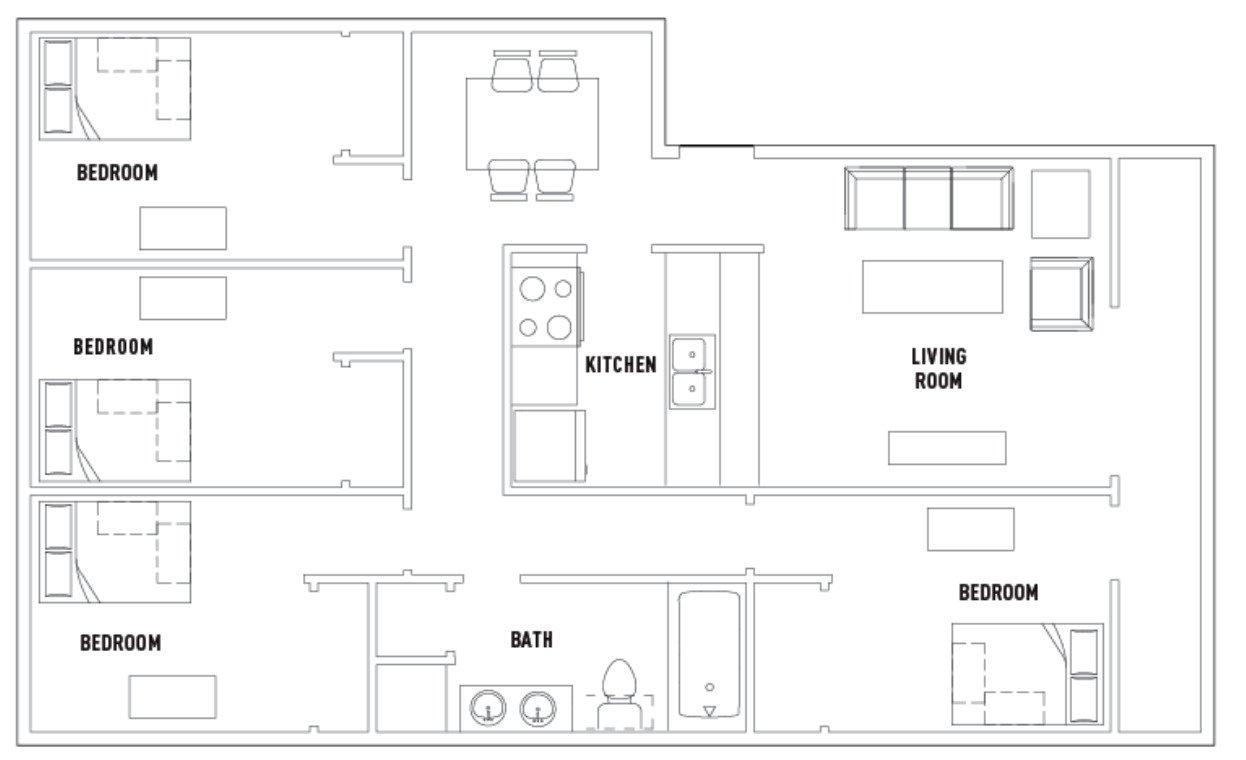 4 Bedrooms 1 Bathroom Apartment for rent at 309 E. Daniel in Champaign, IL