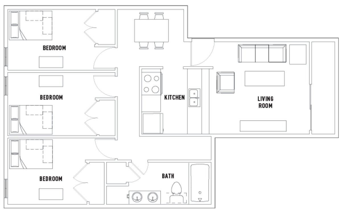 3 Bedrooms 1 Bathroom Apartment for rent at 309 E. Daniel in Champaign, IL
