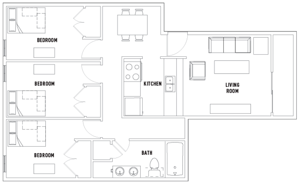3 Bedrooms 1 Bathroom Apartment for rent at 311 E. Daniel St. in Champaign, IL