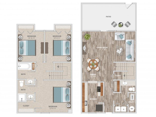 3 Bedrooms 2 Bathrooms Apartment for rent at Fieldpointe of St. Louis in St Louis, MO