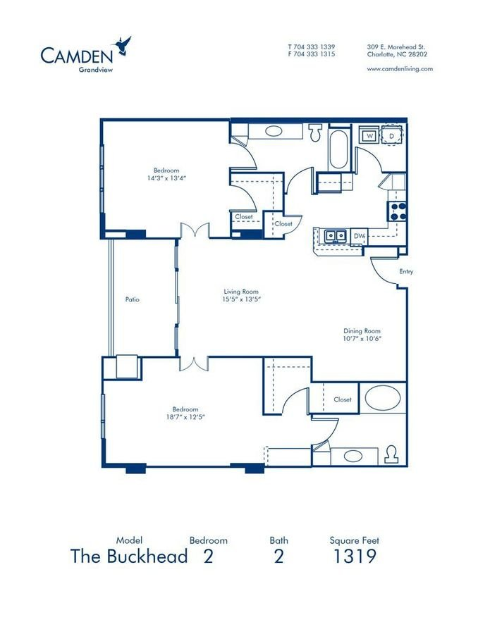 2 Bedrooms 2 Bathrooms Apartment for rent at Camden Grandview in Charlotte, NC