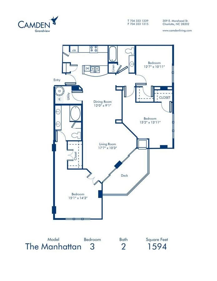 3 Bedrooms 2 Bathrooms Apartment for rent at Camden Grandview in Charlotte, NC