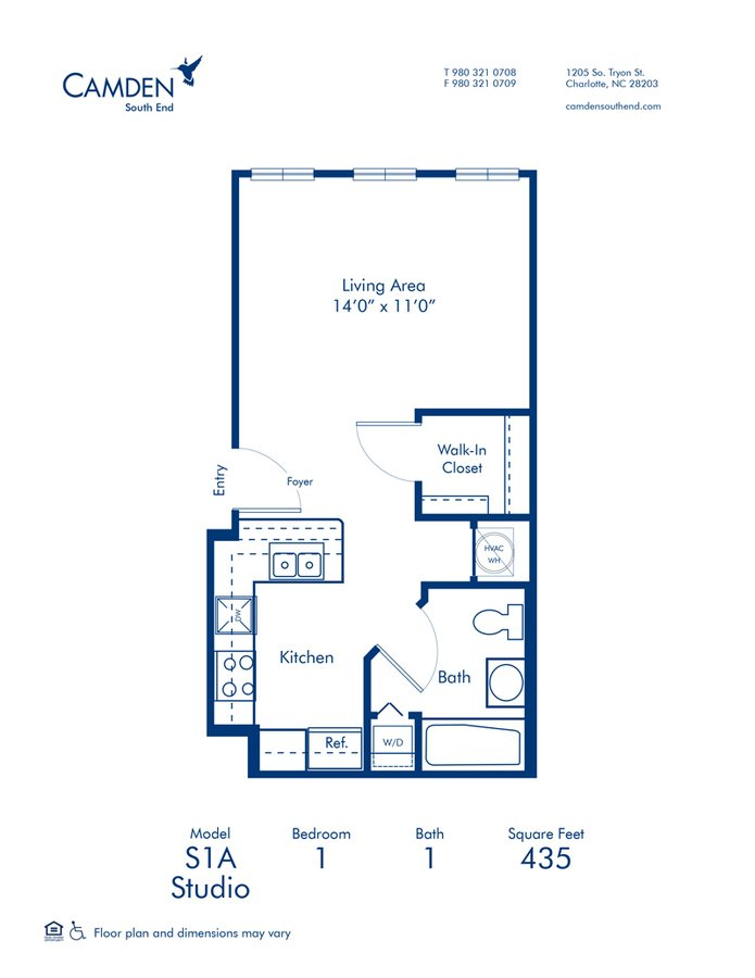 Studio 1 Bathroom Apartment for rent at Camden South End in Charlotte, NC