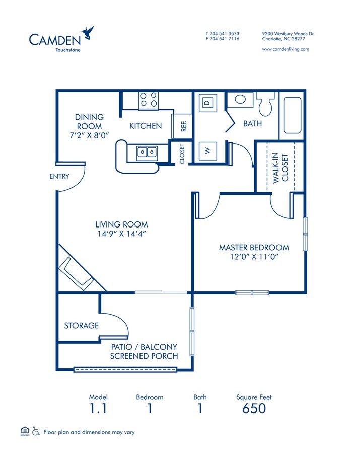 1 Bedroom 1 Bathroom Apartment for rent at Camden Touchstone in Charlotte, NC