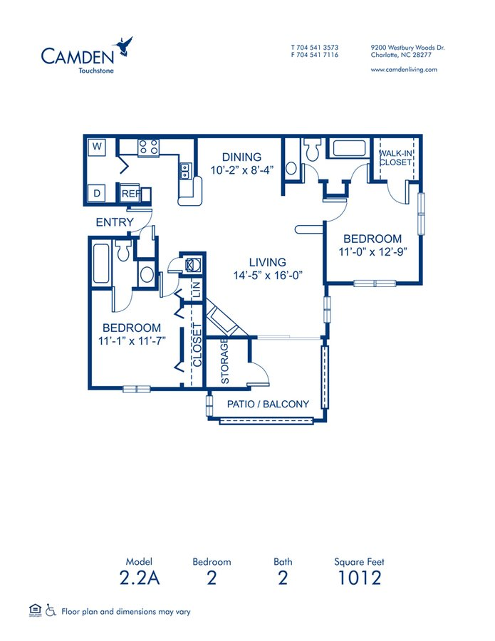 2 Bedrooms 2 Bathrooms Apartment for rent at Camden Touchstone in Charlotte, NC
