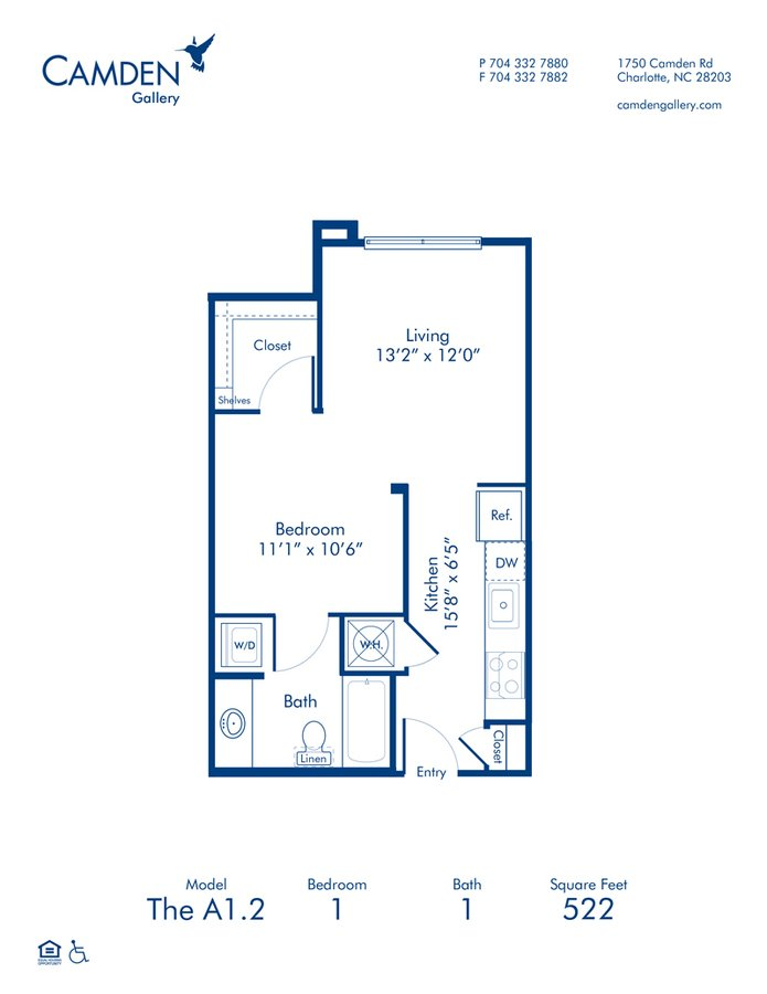 Studio 1 Bathroom Apartment for rent at Camden Gallery in Charlotte, NC