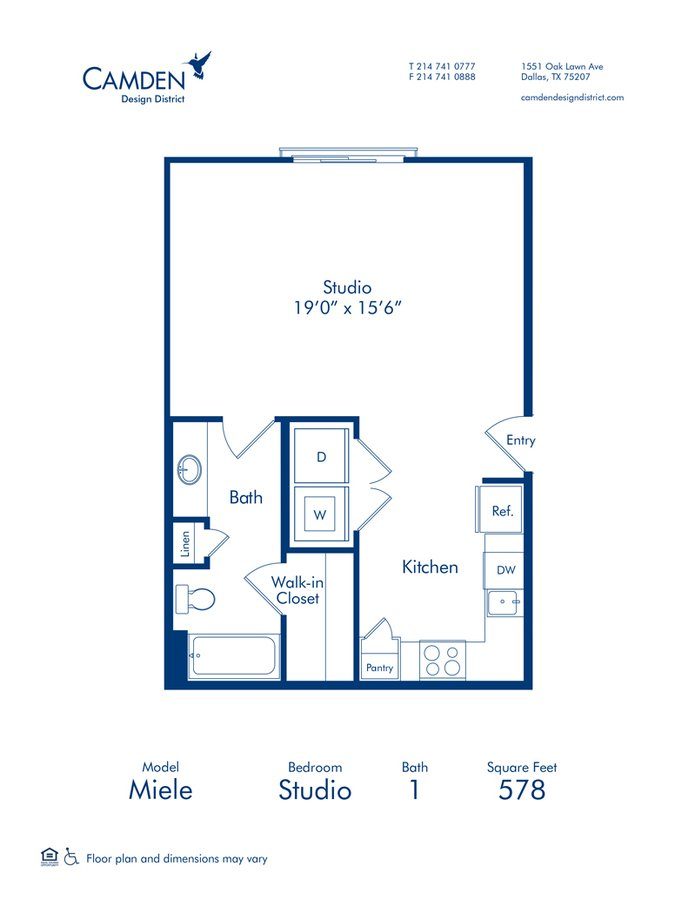 Studio 1 Bathroom Apartment for rent at Camden Design District in Dallas, TX
