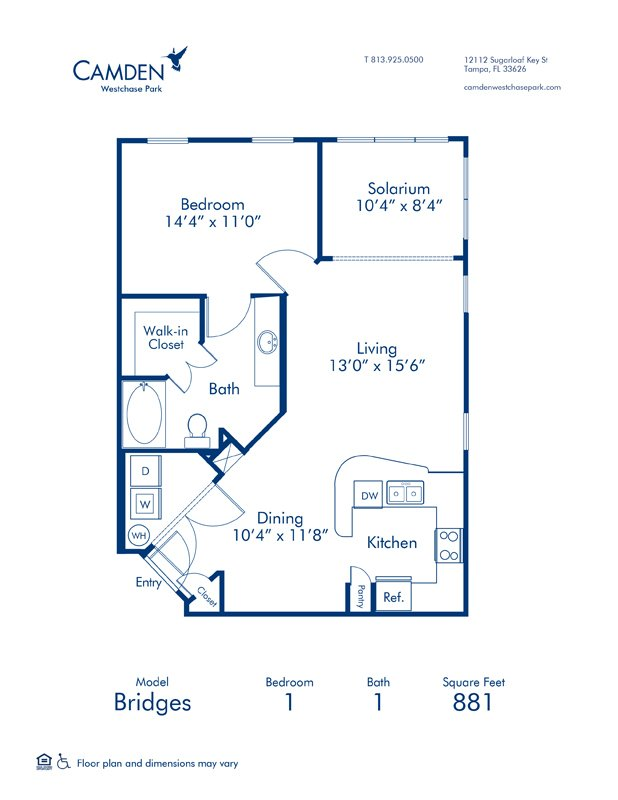 1 Bedroom 1 Bathroom Apartment for rent at Camden Westchase Park in Tampa, FL