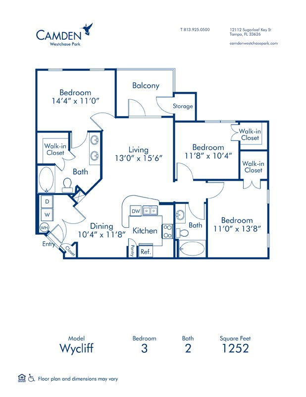 3 Bedrooms 2 Bathrooms Apartment for rent at Camden Westchase Park in Tampa, FL