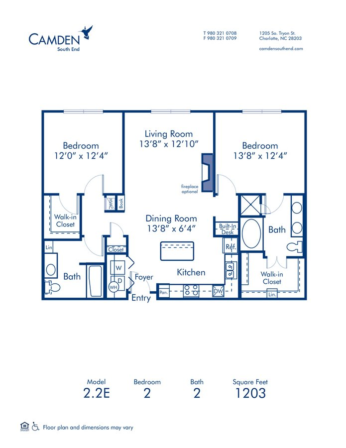 2 Bedrooms 2 Bathrooms Apartment for rent at Camden South End in Charlotte, NC