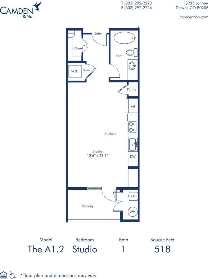 Studio 1 Bathroom Apartment for rent at Camden RiNo in Denver, CO
