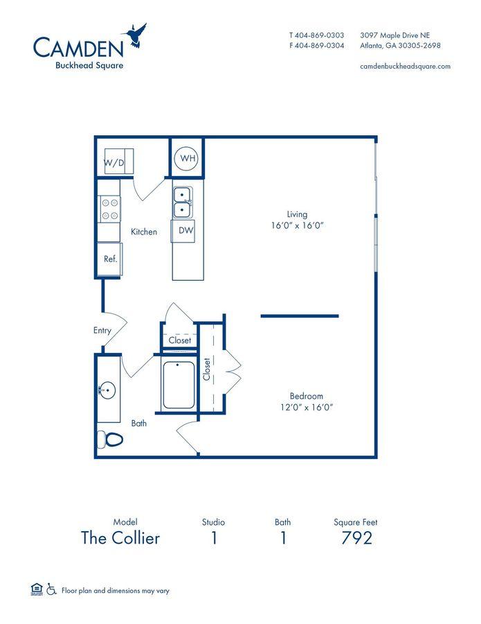 Studio 1 Bathroom Apartment for rent at Camden Buckhead Square in Atlanta, GA