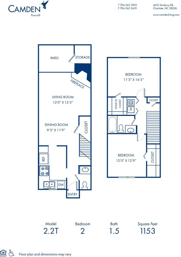 2 Bedrooms 1 Bathroom Apartment for rent at Camden Foxcroft in Charlotte, NC