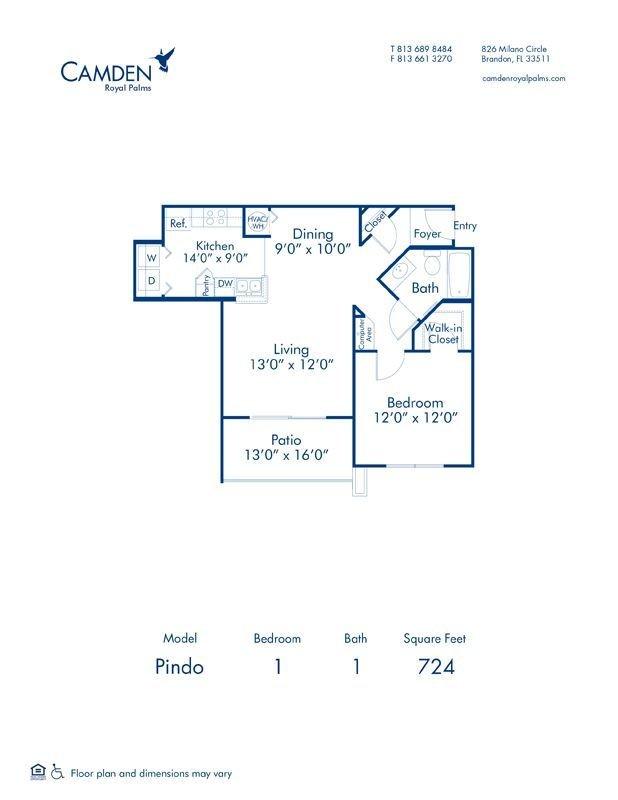 1 Bedroom 1 Bathroom Apartment for rent at Camden Royal Palms in Brandon, FL