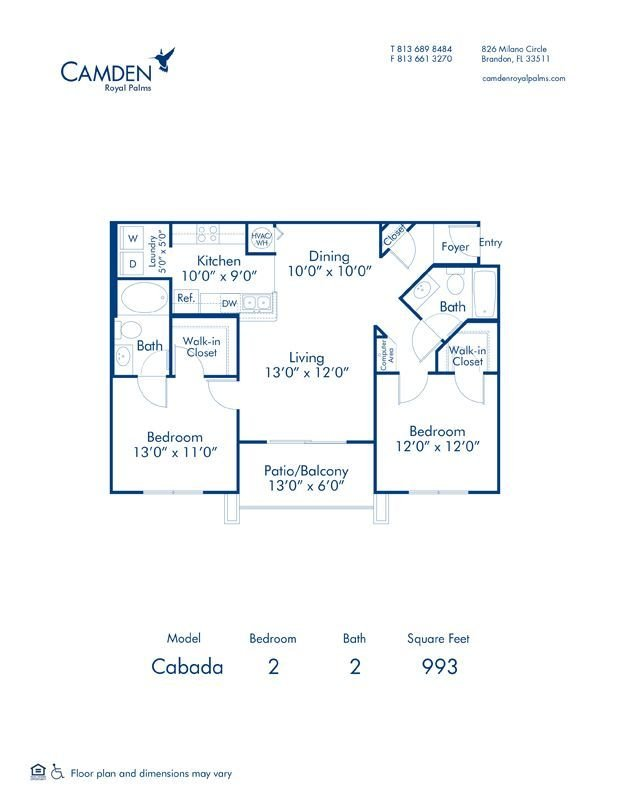 2 Bedrooms 2 Bathrooms Apartment for rent at Camden Royal Palms in Brandon, FL