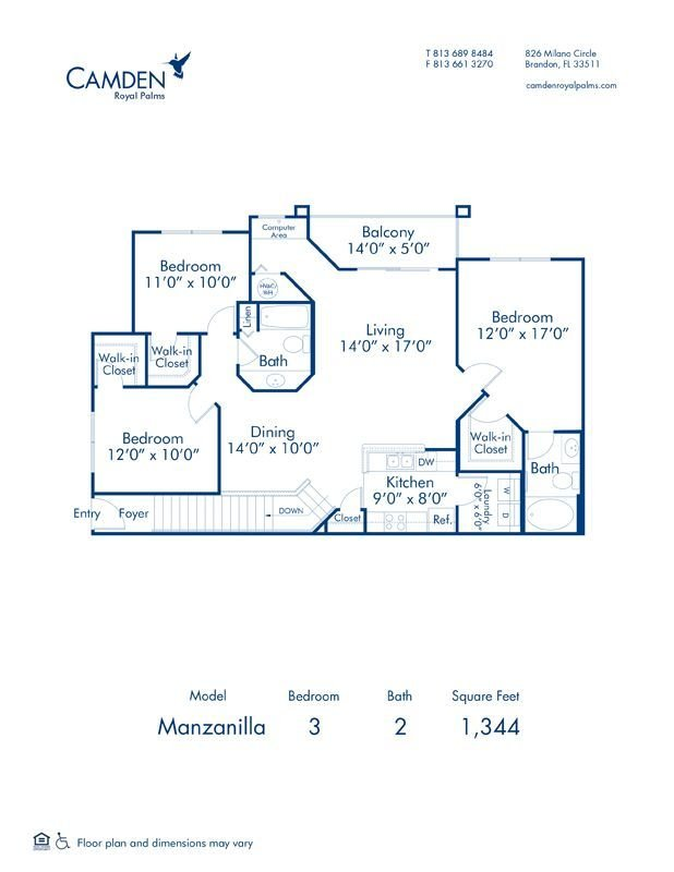 3 Bedrooms 2 Bathrooms Apartment for rent at Camden Royal Palms in Brandon, FL