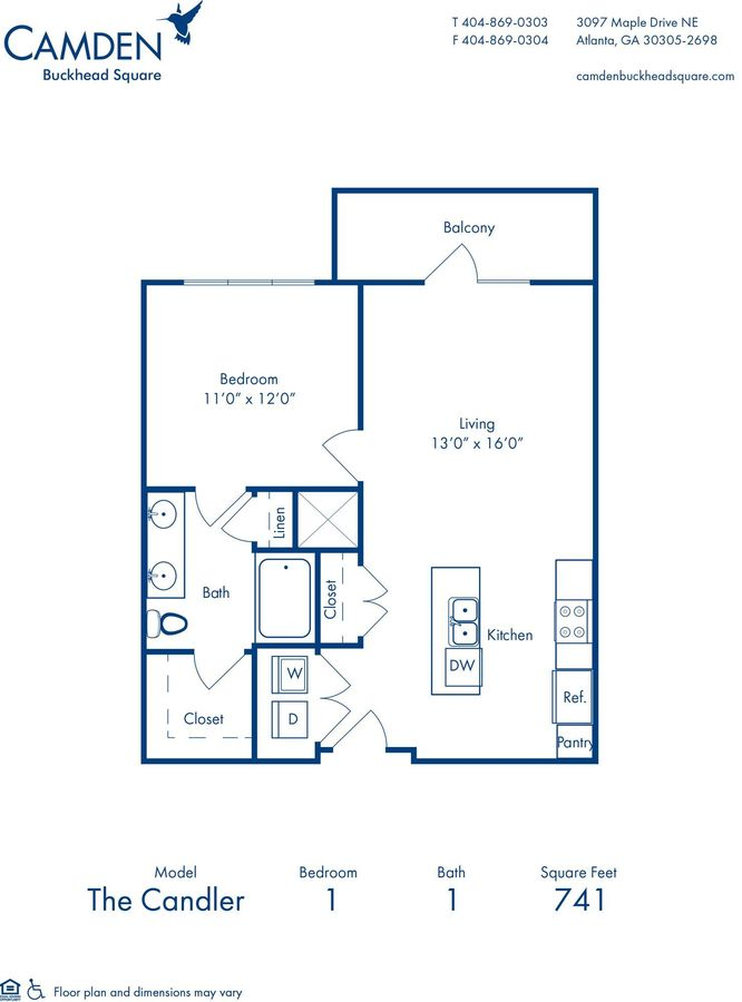 1 Bedroom 1 Bathroom Apartment for rent at Camden Buckhead Square in Atlanta, GA