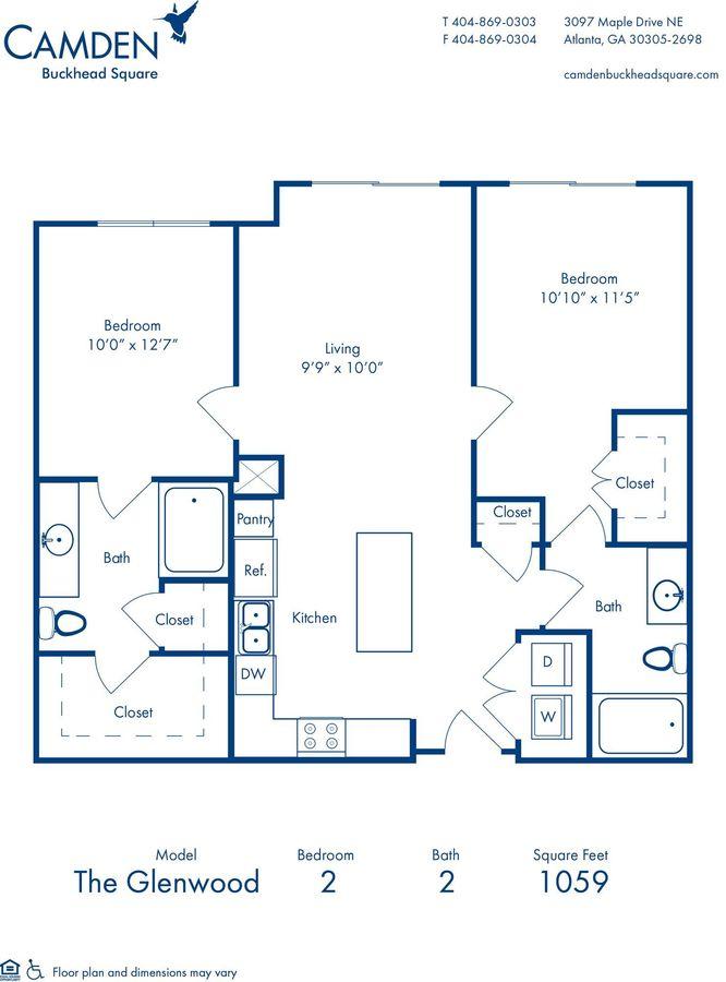 2 Bedrooms 2 Bathrooms Apartment for rent at Camden Buckhead Square in Atlanta, GA