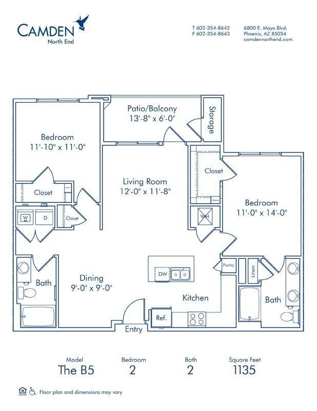2 Bedrooms 2 Bathrooms Apartment for rent at Camden North End in Phoenix, AZ
