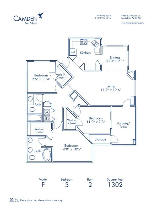 3 Bedrooms 2 Bathrooms Apartment for rent at Camden San Paloma in Scottsdale, AZ