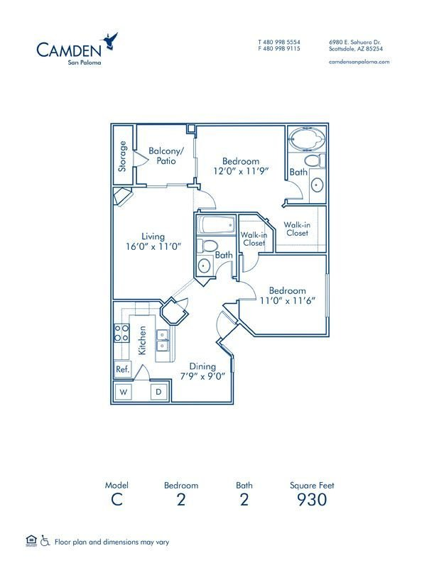 2 Bedrooms 2 Bathrooms Apartment for rent at Camden San Paloma in Scottsdale, AZ