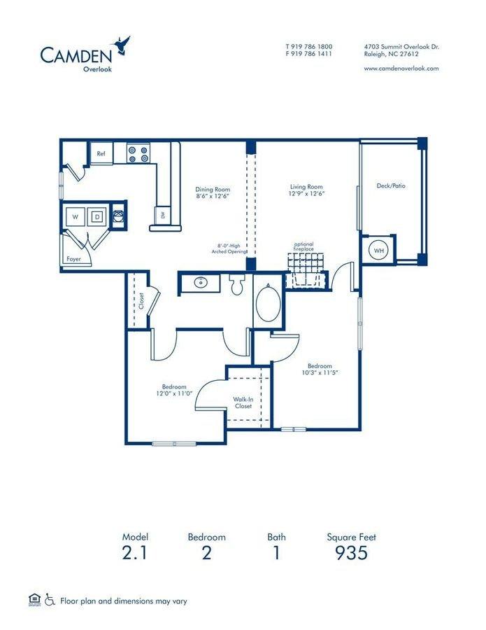 2 Bedrooms 1 Bathroom Apartment for rent at Camden Overlook in Raleigh, NC