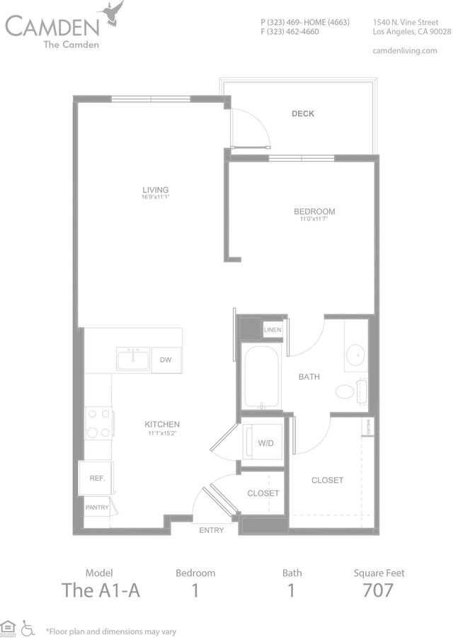 1 Bedroom 1 Bathroom Apartment for rent at The Camden in Hollywood, CA