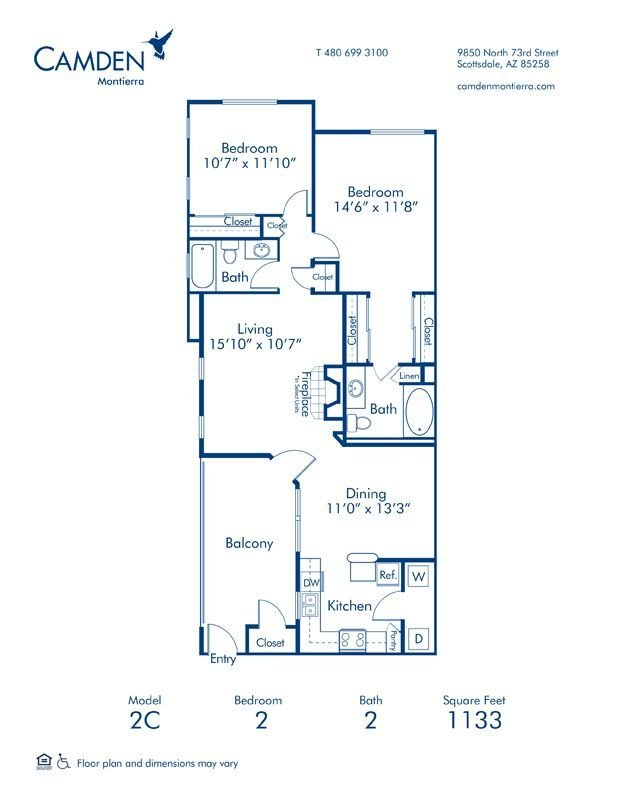2 Bedrooms 2 Bathrooms Apartment for rent at Camden Montierra in Scottsdale, AZ