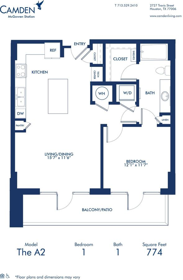1 Bedroom 1 Bathroom Apartment for rent at Camden McGowen Station in Houston, TX