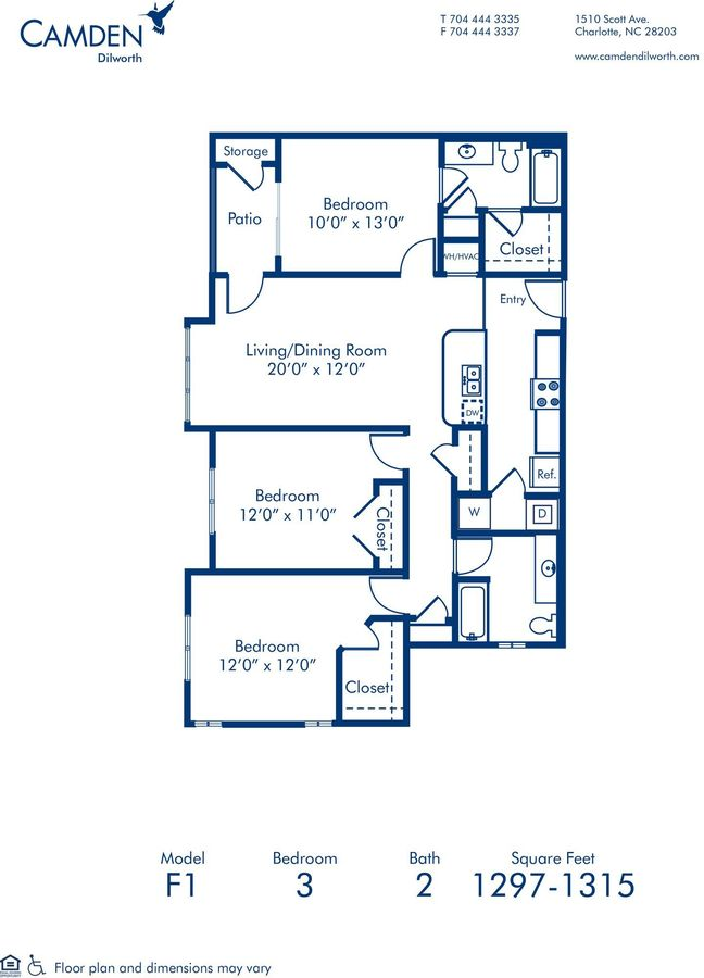 3 Bedrooms 2 Bathrooms Apartment for rent at Camden Dilworth in Charlotte, NC