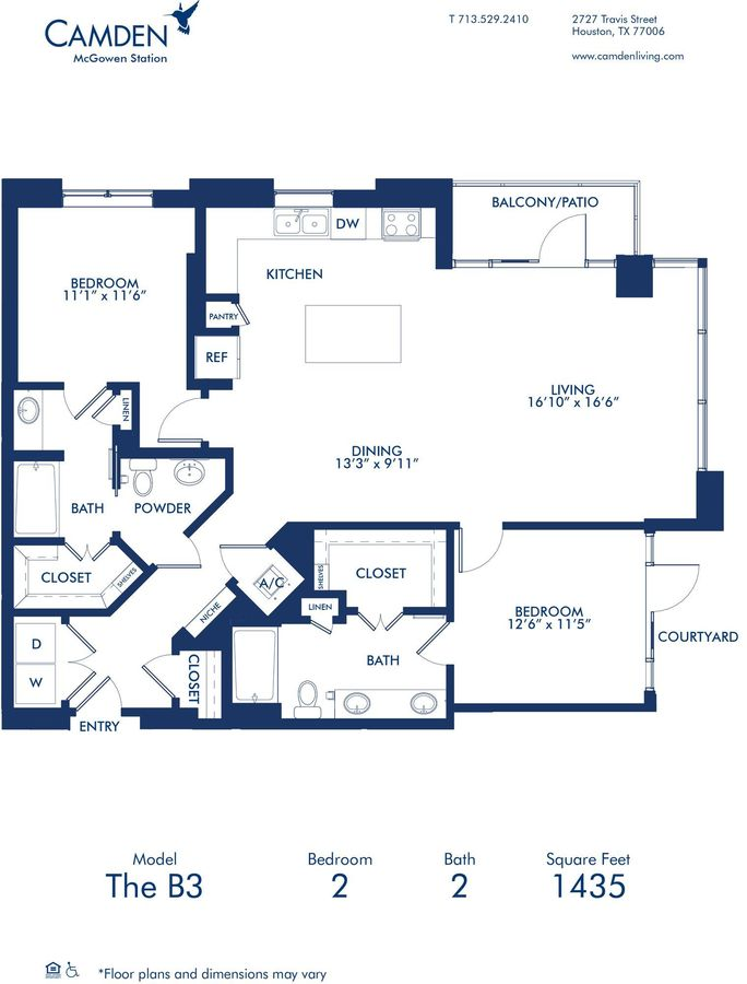 2 Bedrooms 2 Bathrooms Apartment for rent at Camden McGowen Station in Houston, TX