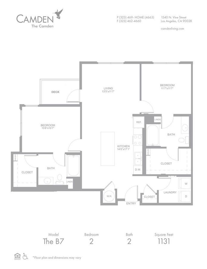 2 Bedrooms 2 Bathrooms Apartment for rent at The Camden in Hollywood, CA