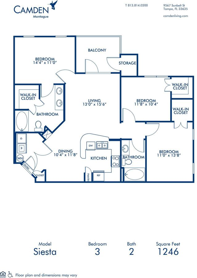 3 Bedrooms 2 Bathrooms Apartment for rent at Camden Montague in Tampa, FL
