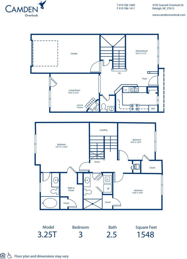 3 Bedrooms 2 Bathrooms Apartment for rent at Camden Overlook in Raleigh, NC