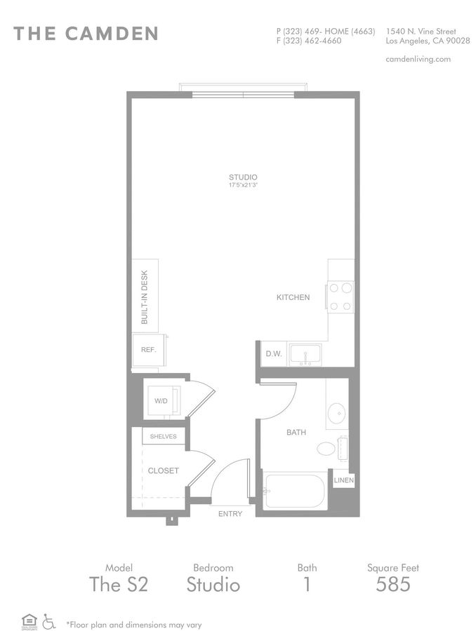 Studio 1 Bathroom Apartment for rent at The Camden in Hollywood, CA
