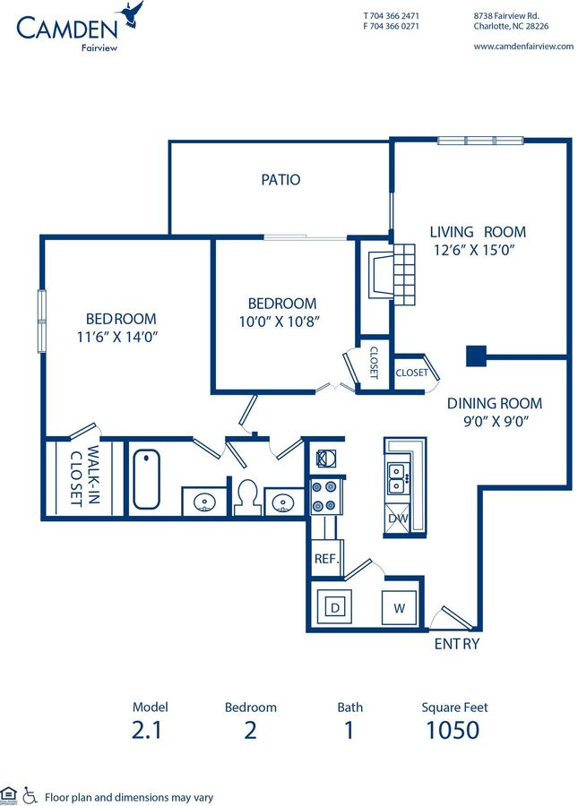 2 Bedrooms 1 Bathroom Apartment for rent at Camden Fairview in Charlotte, NC