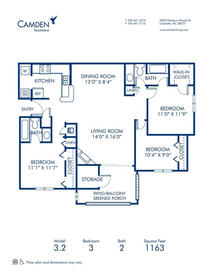 3 Bedrooms 2 Bathrooms Apartment for rent at Camden Touchstone in Charlotte, NC