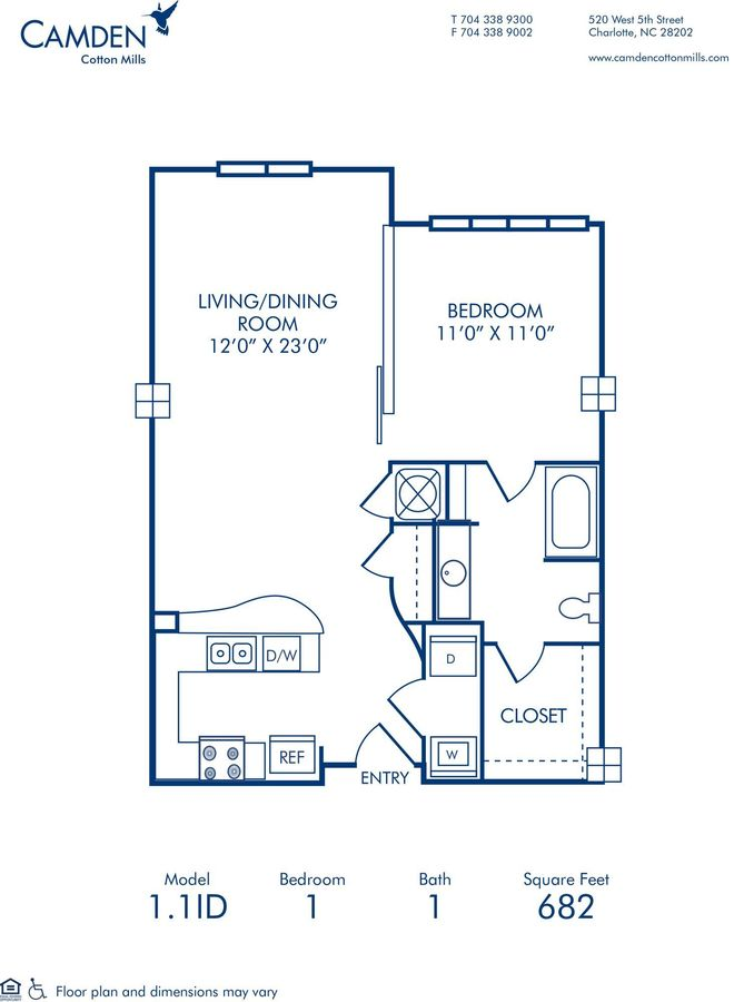 1 Bedroom 1 Bathroom Apartment for rent at Camden Cotton Mills in Charlotte, NC