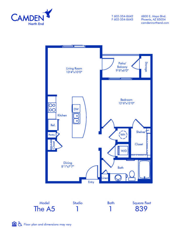 1 Bedroom 1 Bathroom Apartment for rent at Camden North End in Phoenix, AZ