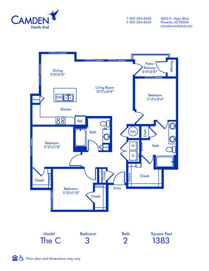 3 Bedrooms 2 Bathrooms Apartment for rent at Camden North End in Phoenix, AZ