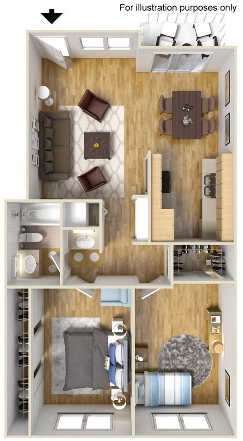 2 Bedrooms 1 Bathroom Apartment for rent at The Village at South Coast in Costa Mesa, CA