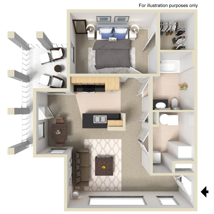 1 Bedroom 1 Bathroom Apartment for rent at University Place Apartments in Memphis, TN