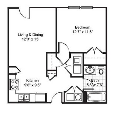 1 Bedroom 1 Bathroom Apartment for rent at Fairfield Apartments in Pittsburgh, PA