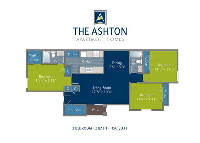 3 Bedrooms 2 Bathrooms Apartment for rent at Ashton at Richmond Hill in Richmond Hill, GA